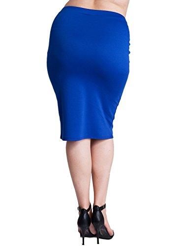 Woman Royal Blue Plus Size Banded Waistline Pencil Skirt