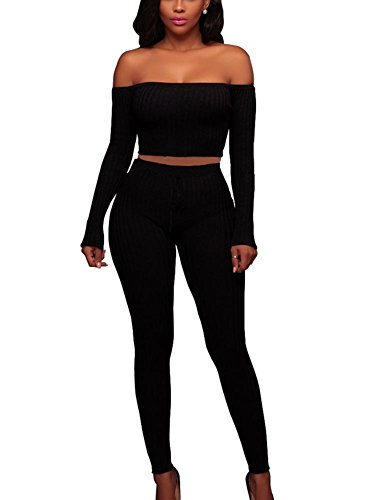 MISFONDLE Women's Sexy 2 Piece Bodycon Off Shoulder Long Sleeve Ribbed Skinny Jumpsuit Black