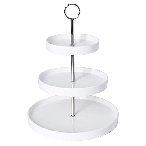 Sweese 3315 3-Tier Porcelain Cupcake Stand/Tiered Dessert Stand/Cake Stand - White Porcelain Round Plates for Tea Party Wedding Baby Shower Buffet Server
