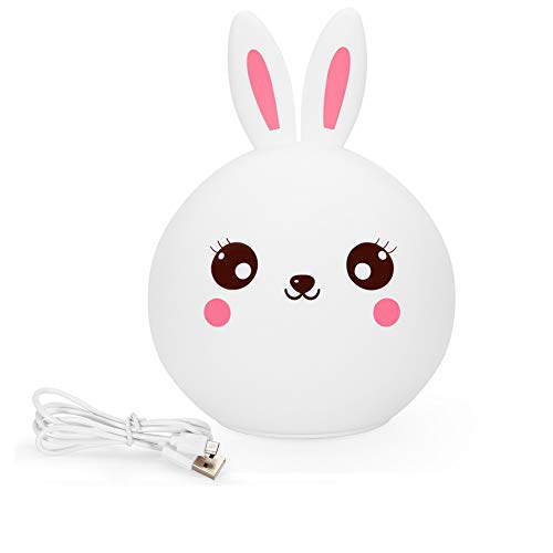 Bunny Nursery Night Light, Christmas Easter Kawaii Rabbit Gifts for 3, 4, 5, 6, 7 Year Old Baby Girls Kids, Color Changing w' Touch Senor USB Rechargeable Desk Bedside Lamp