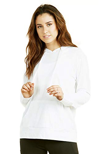 (Women's Pullover Cotton Light Hoodie Sweater (M,White))