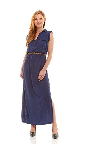 No Comment Juniors Womens Shirt Collar Button Front Slit Skirt Knit Maxi Dress, Twilight Blue Size (Twilight Tye Dye)