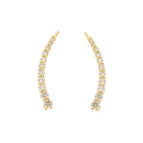 14kt Yellow Gold Graduated 11 Stone Prong Set Ear Climber (0.49 CTTW) by Isha Luxe-Diamond Fashion