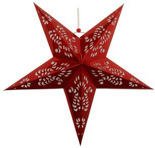 Just-Artifacts-Star-Shaped-Paper-LanternLamp-Hanging-Decoration-36inch-Red