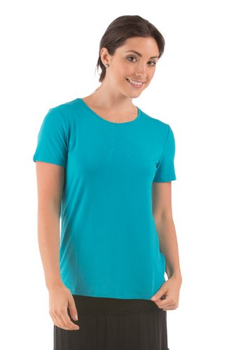 Women's Short Sleeve T-Shirt - Bamboo Viscose Top by Texere (Spring Zing, Capri Breeze, X-Small) Cute Lounge Wear for Her WB1101-CBZ-XS (Breeze Lounge)