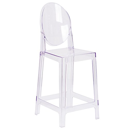 Flash Furniture Ghost Counter Stool with Oval Back in Transparent Crystal by Flash Furniture