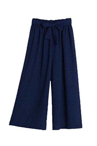 Giovane Moda Tempo Pantaloni Eleganti Monocromo Unique Blu Donne Cinghietti Elastica Tendenza Libero Estivi Vita Baggy Larghi Donna Pantalone Classiche zwnfqzB8