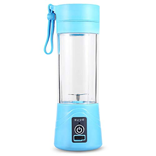 (380ml Juicers USB Rechargeable Blender Mixer Portable Mini Juicer Juice Machine Smoothie Maker Household Small Juice Extractor,Sky Blue)