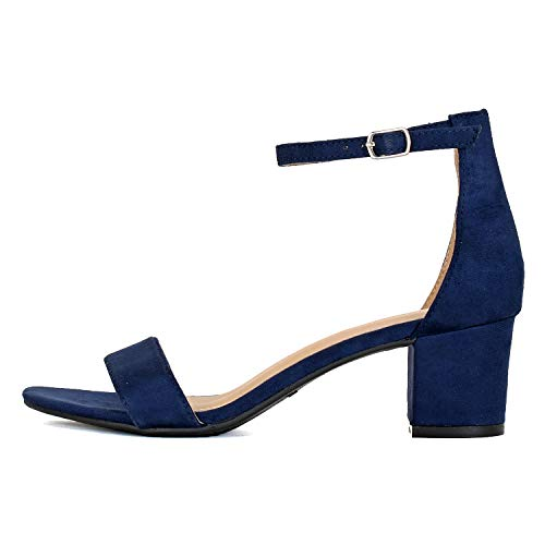 Guilty Shoes Womens Ankle Strap Comfortable Low Heel Sandal - Chunky Block Heel Comfortable Heeled Sandals (10 M US, Navy Suede)