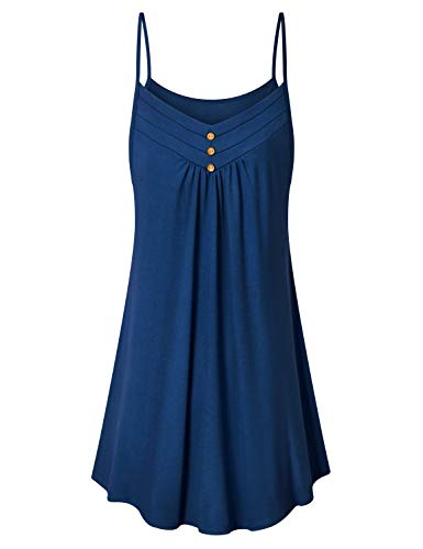 Viracy Spaghetti Strap Dresses for Women, Ladies Comfy Knitted Rouched Modest Dresses for Women Ruched Faddish V Collar Solid Above-The-Knee Sundresses Wedding Vacation Travel for Leggings Blue L