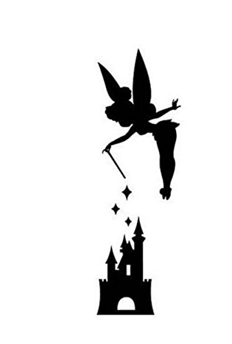 (Disney Peter Pan Tink TInkerbell Castle, Pink, 6 Inch, Die Cut Vinyl Decal, For Windows, Cars, Trucks, Toolbox, Laptops, Macbook-virtually Any Hard Smooth Surface)
