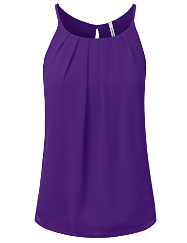 JJ Perfection Women's Round Neck Front Pleated Chiffon Cami Tank Top Purple ()