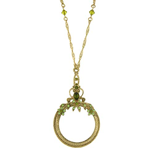 1928 Jewelry Ornate Olivine Brass-Tone Magnifying Glass Necklace, ()