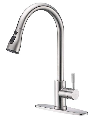 Keonjinn Stainless Steel Kitchen Faucets, High Arc Single Handle Pull Out Brushed Nickel Kitchen Faucet, Single Level…