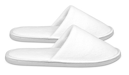 Spa Slippers by Shangrila Spa Collection - Disposable Hotel Slippers for Home, Travel and Guests. Premium Quality White Unisex Close Toed Spa Slippers in 2 sizes for Women, Men, Teens and Kids. Bulk. by Shangrila Spa Collection (Image #3)