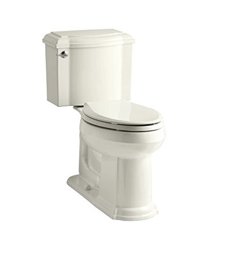 Piece Two Toilets Devonshire (Kohler 3837-K4 Devonshire Comfort Height 1.28 TLT, EB Devonshire Comfort Height Twopiece Elongated 1.28 Gpf Toilet with AquaPiston Flush Technology & Left-Hand Trip Lever; Cashmere)