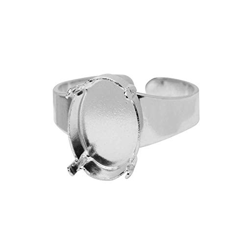 - Gita Jewelry Stone Setting for Swarovski Crystal, Adjustable Ring Base for 14x10 Oval, Rhodium Plated