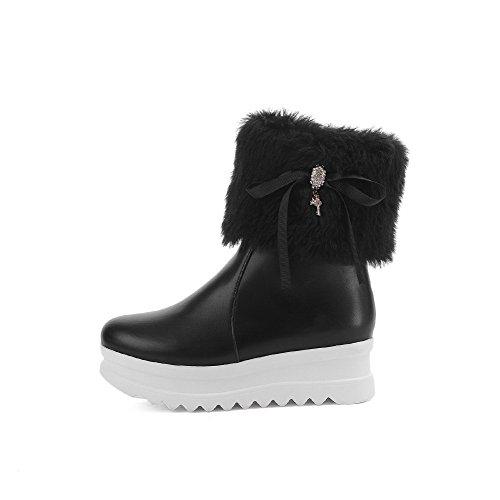 Allhqfashion Femmes Zipper Low-heels Pu Solide Low-top Bottes Noir