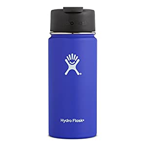 Hydro Flask 16 oz Double Wall Vacuum Insulated Stainless Steel Water Bottle / Travel Coffee Mug, Wide Mouth with BPA Free Hydro Flip Cap, Blueberry