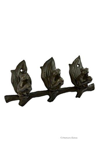 Dark Brown 3-Squirrel Cast Iron Hook Wall Coat Rack Hanger (Cast Iron Squirrel Hook)