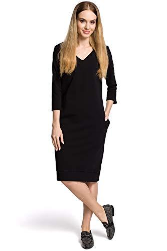 Schwarz mit Clea Kleid V Ausschnitt WSng6OqnA
