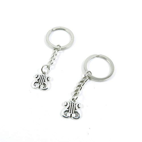 Silver Tone Harp - 100 Pieces Keyrings Keychains Door Car Keys Rings Tags Chain Antique Silver Tone Bulk Lots D0AC6Z Harp