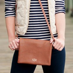 Personalized Palmer Crossbody Purse - Color: Camel, Font: Tiny Block Monogram, Font Color: Creme