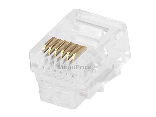 Connector 3 Round - Monoprice RJ12 6P6C Plug Round Solid, 50-Piece/Bag (107271)
