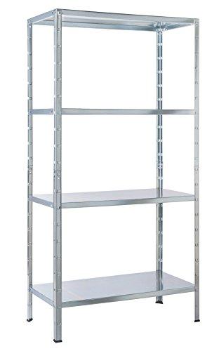 Schulte Regal Steckregal Metall, Traglast 200 kg, 4 Böden, 1 Stück, 137 x 75 cm, verzinkt, 4056397001
