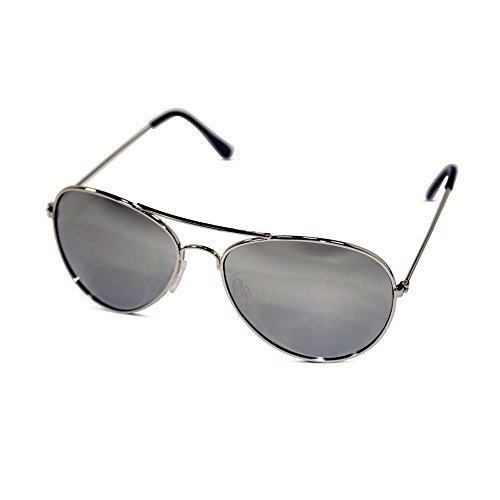 Unisex Kid Sized Aviator Sunglasses w/ Silver Mirror Lens (Silver)