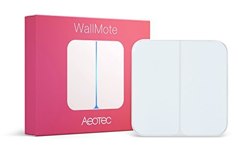 Aeotec WallMote, Z-Wave Plus wireless wall switch, 2 button, 8 scene remote control by Aeon Labs