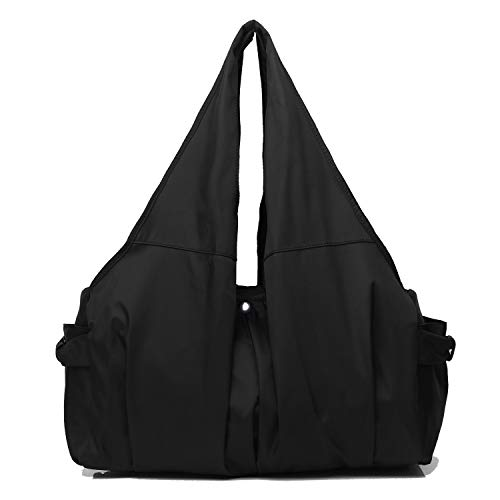 (Shoulder Bag for Women, Waterproof Shopping Lightweight Work Purse and Handbag Travel Tote Oxford Nylon Large Capacity Hobo (8022-BLACK))