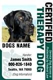 "PERSONALIZE Dean & Tyler ""Certified Therapy Dog #5"" ID Badge Bundle - 1 Handler's Custom ID Badge - 1 Dog's Custom ID Badge - Design#5 - Vertical."