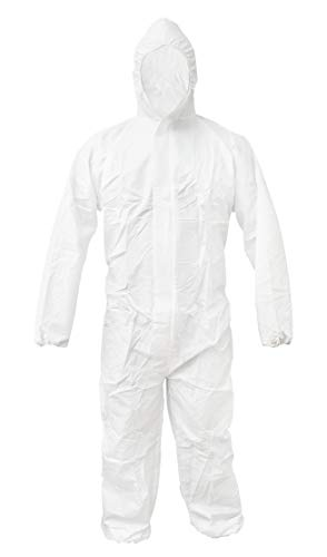 - ABC White 55G Microporous Coverall L size. Elastic Bands in Hood, Cuffs, Ankles, Waist. Heavy-Duty Protective Coveralls. Unisex Disposable Workwear for cleaning service, painting, manufacturing.