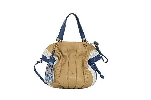 Petusco, Sac Naomi Puntini, couleur Camel, cuir de vachette, type grainé, avec logo en relief + Détails