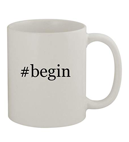 #begin - 11oz Sturdy Hashtag Ceramic Coffee Cup Mug, White