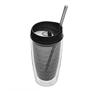 Tumbler Cup with Straw Lids Plastic Acrylic Double Wall Insulated BPA Free Travel Outdoor Cup(Dark Grey, 15oz Arcylic Water Bottle)