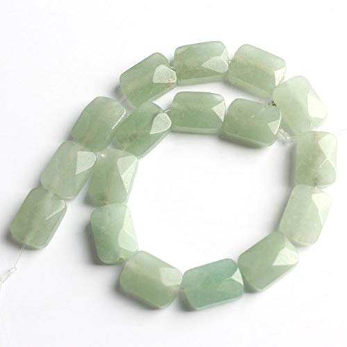 Love Beads Natural Stone Beads Faceted Green Aveaturine Rectangular Loose Beads Jewelry DIY Bracelet 8x12mm