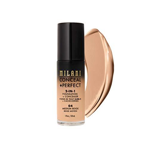 Milani Conceal + Perfect 2-in-1 Foundation + Concealer – Medium Beige (1 Fl. Oz.) Cruelty-Free Liquid Foundation – Cover…