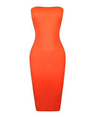 Instar Mode Women's Seamless Strapless Midi Bodycon Slip Tube Dress (D39715 N.Orange, (Ladies Elastic Tube Dress)