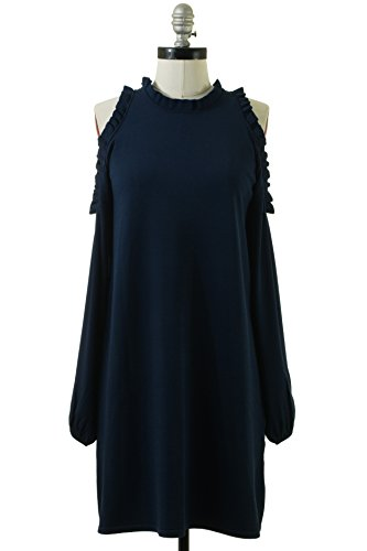 MILLY Women's Cold Shoulder Ruffle Dress, Navy, M