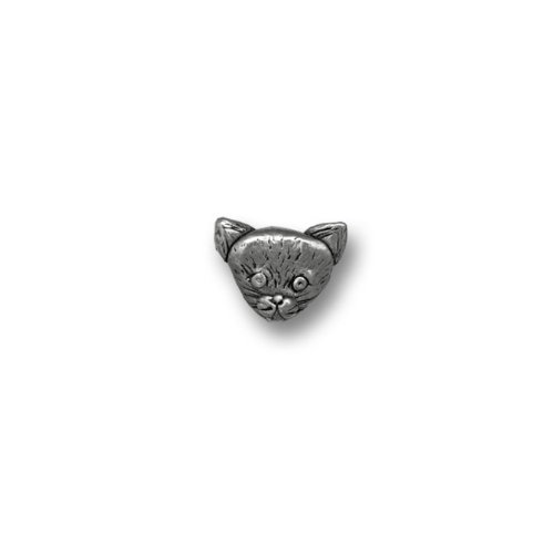 Pewter Short Haired Cat Head Lapel Pin by The Magic Zoo
