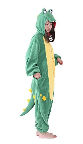 Adult Animal Halloween Crocodile Onesies Cosplay Costumes Onesie Halloween Sleepwear for Women Men L]()