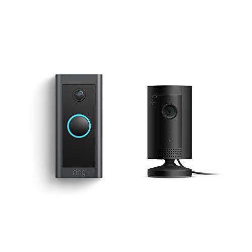 Ring Video Doorbell Wired bundle with Ring Indoor Cam (Black) (Color: Black, Tamaño: 1 Cam)
