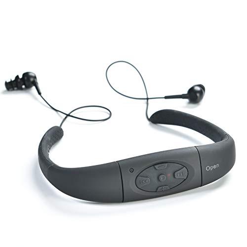 MIUSUK 100% Waterproof MP3/FM Radio with Waterproof Stereo Earbuds Enjoy Swimming, Sports, Running Built-in 8GB (Black)