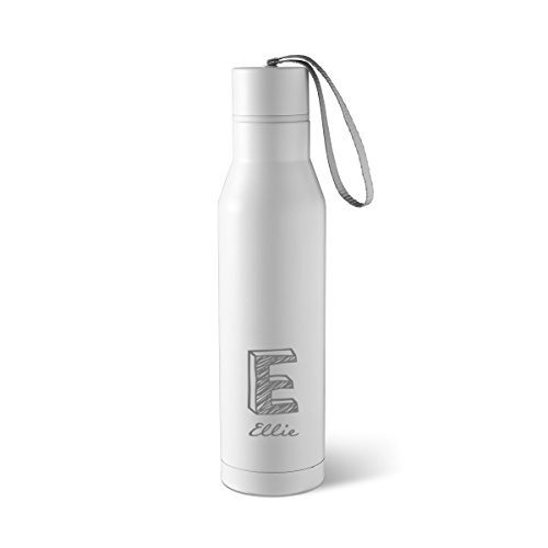Personalized White Double Insulated Steel Water Bottles - Personalized Water Bottles - Monogrammed Water Bottle -