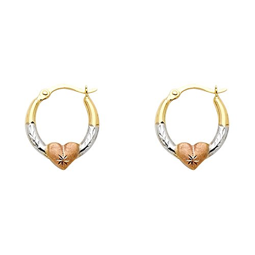 14k Yellow White Rose Gold Small Round Heart Hoop Earrings Diamond Cut Polished Tri Color 18 x 2 mm (White Rose Yellow 14k)