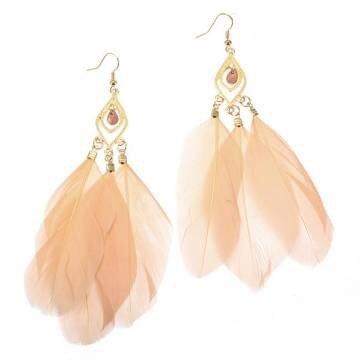 - Vintage Metal Handmade Feather Long Drop Earrings Jewelry