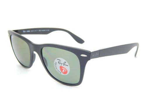 New Ray Ban Liteforce Wayfarer Tech RB4195 601S9A Black/Polar Green 52mm Sunglasses