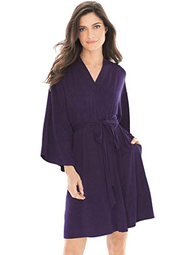 SIORO Kimono Robe Plus Size Soft Lightweight Robes Cotton Nightshirts V-Neck Sexy Nightwear Dress Knit Bathrobe Loungewear Short for Women, Eggplant, S